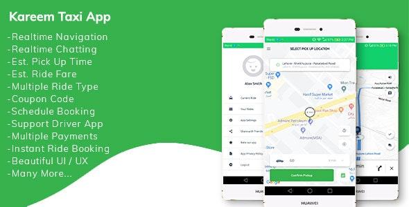 Kareem Taxi App – Cab Booking Solution + admin panel