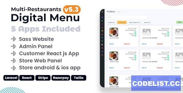 Chef v5.3 - Multi-restaurant Saas - Contact less Digital Menu