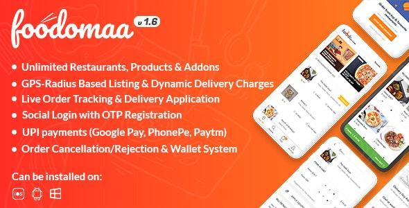 Foodomaa v1.7.1 - Multi-restaurant Food Ordering, Restaurant Management and Del