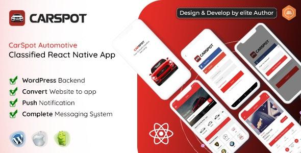 CarSpot v1.3 - Dealership Classified React Native Android App + IOS