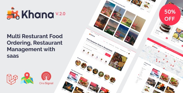 Khana v2.2 - Multi Resturant Food Ordering, Restaurant Management With Saas